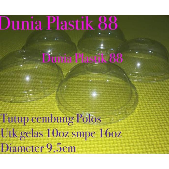 Murah Meriah @50Pcs Tutup Gelas Cup Plastik Cembung Polos Oz 10-12-14-16Oz Dome Lid