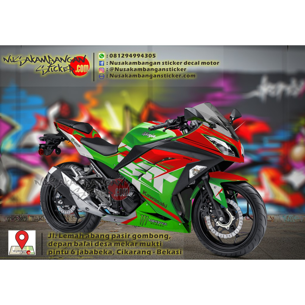 Decal striping kawasaki ninja 250 lw fi merah hitam 26 full bodyy shopee indonesia