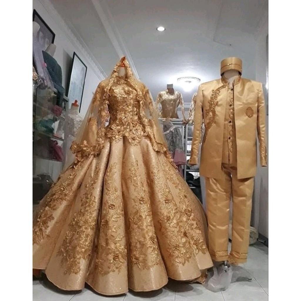Gaun pengantin couple - Baju akad nikah Modern - Gaun pengantin kebaya  modern - Gaun Pengantin Ter