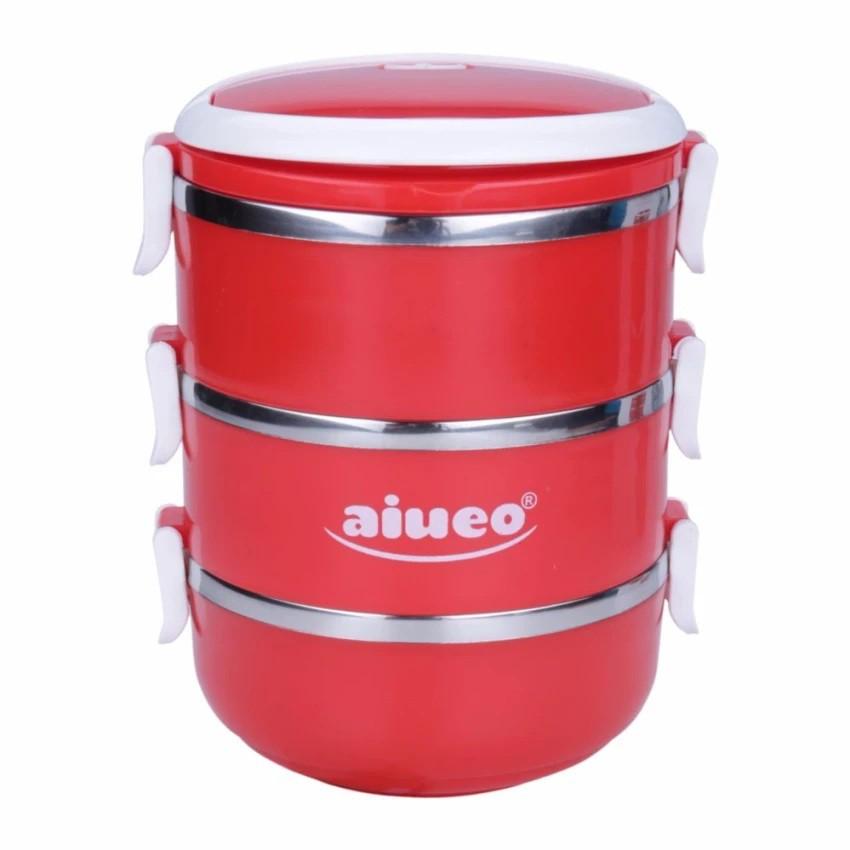 AIUEO Eco Lunch Box Stainless Steel Rantang 3 Susun Glossy | Shopee Indonesia
