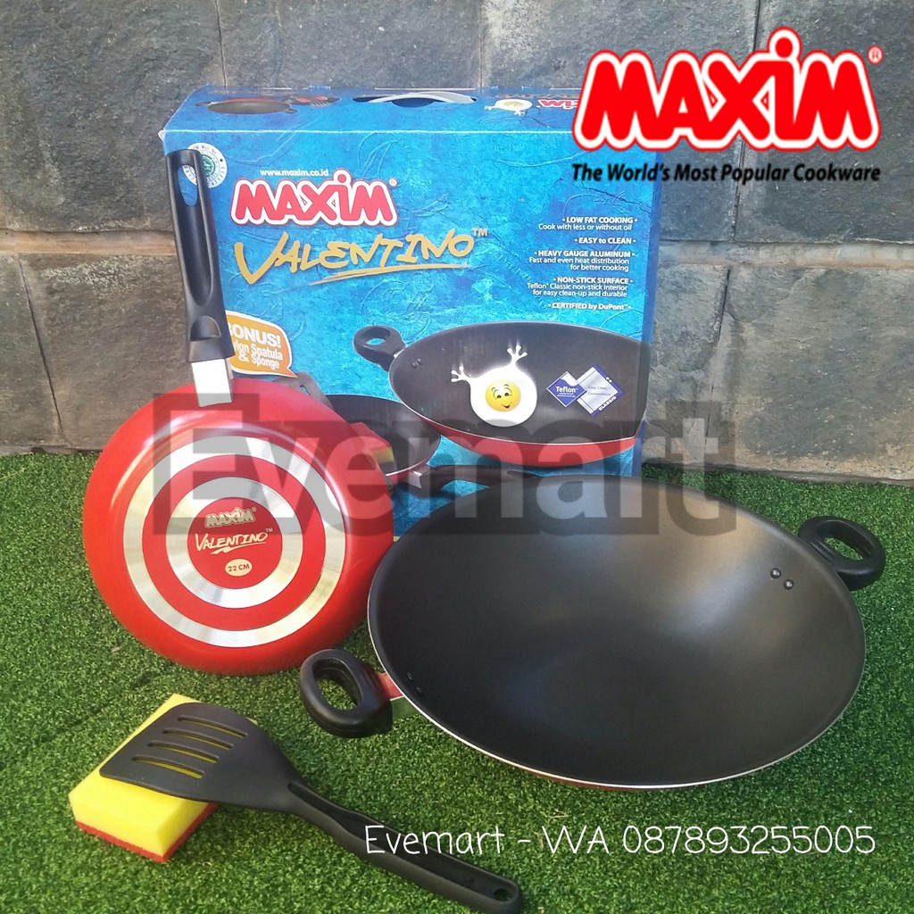 Maxim Valentino Set Panci Wajan Teflon Spatula Sponge 5 Pcs Maspion Venice Shopee Indonesia