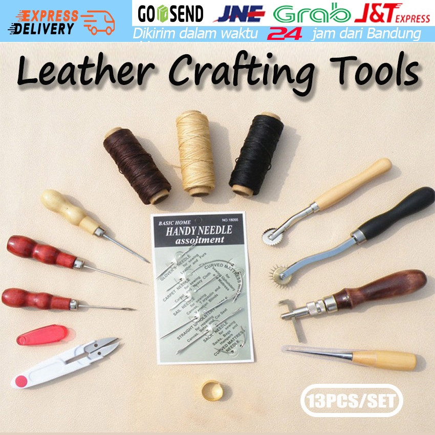 Leather Working Tools Kit Set Hand Sewing Craft Supplies Stitching Groover Awl