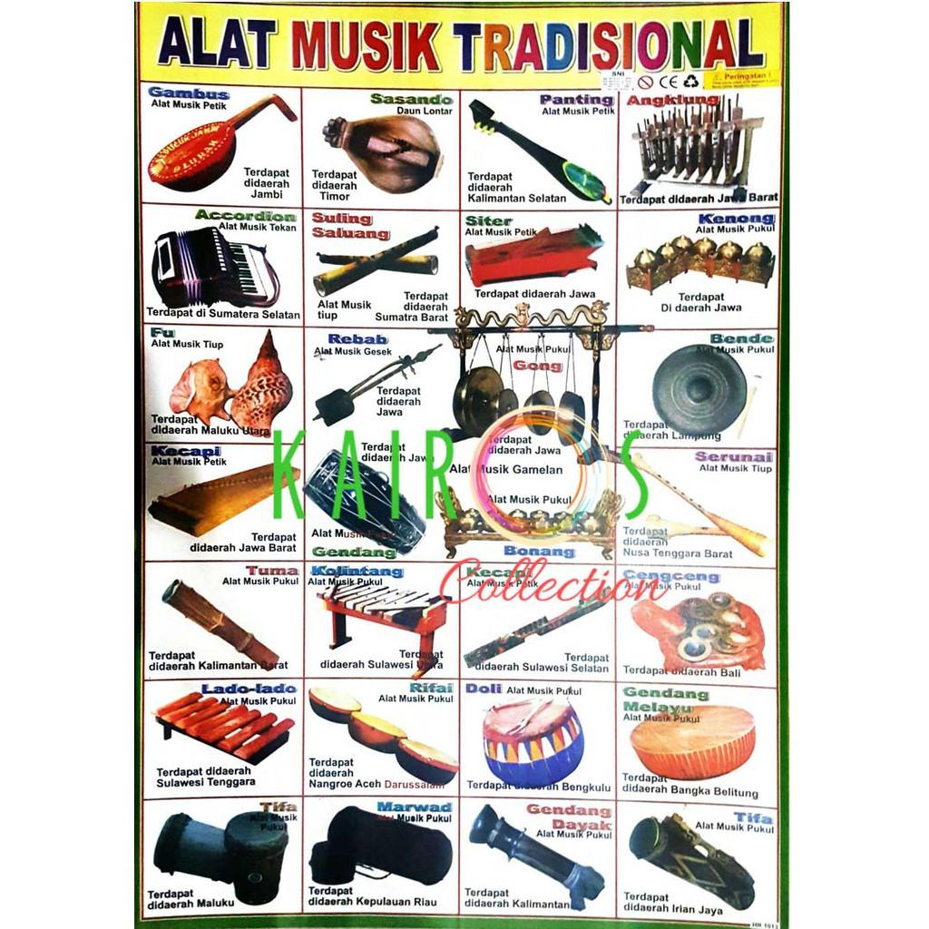 Poster Anak Belajar Alat Musik Tradisional Indonesia   Shopee ...