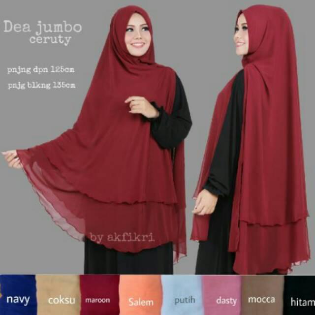 Ayafashions Jilbab Syari Khimar Dea Hijab Instan Jumbo Sifon 2 Layer Shopee Indonesia
