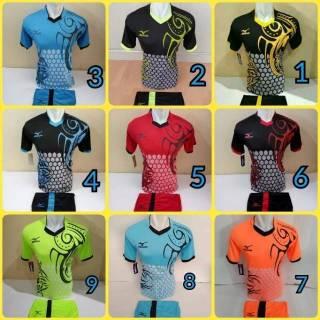Baju kaos olahraga jersey bola setelan futsal / volly mizuno 03 hitam biru