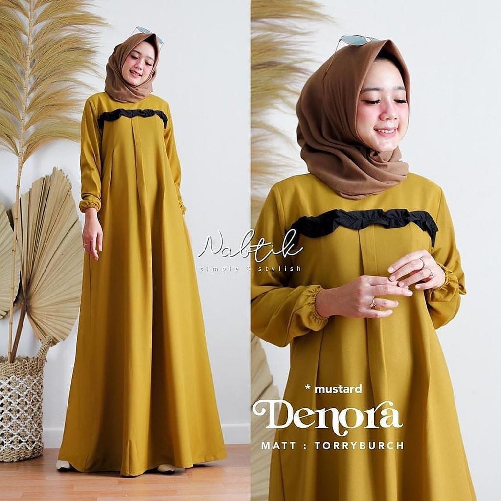 DENORA DRESS Baju Gamis Wanita Gamis Muslimah Mosscrepe Dress Muslim Wanita Elegant Terbaru 2020