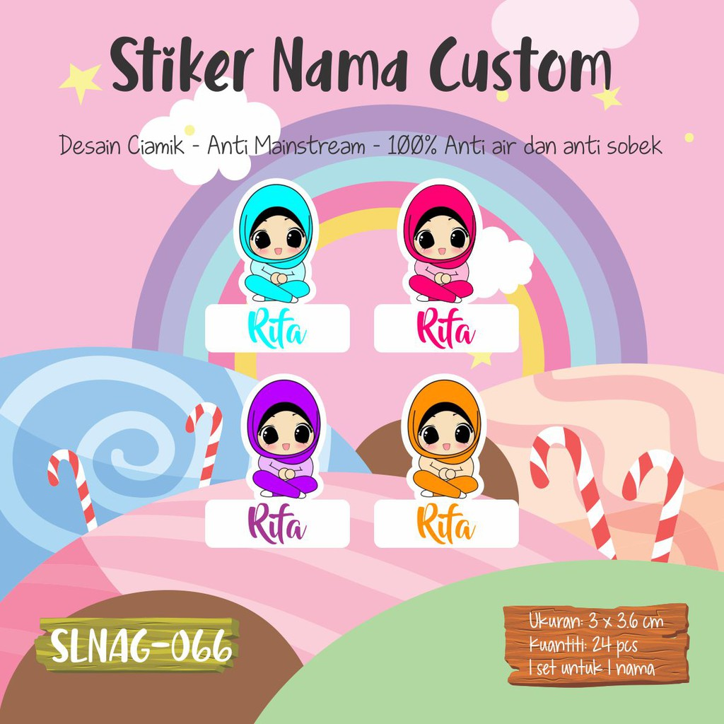 SLNAG 066 Sticker Nama Anak Kartun Girl Muslimah Cute Funny Hijab Jilbab Stiker Anti Air Murah