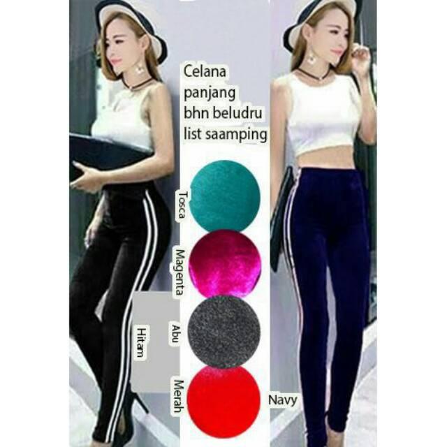 Celana Panjang Bludru Asli Tebal Adem Halus Melar Nyaman Import List 2 Legging Bludru List 2 Shopee Indonesia