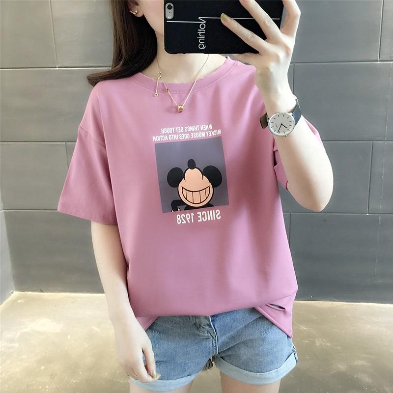 Musim panas baru Korea putih lengan pendek t-shirt wanita bagian pendek Slim tip  