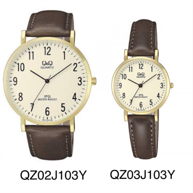 Q&Q Jam Tangan Couple - Original QZ02J103Y & QZ03J103Y - Tali Kulit - Coklat - Dark Brown | Shopee Indonesia