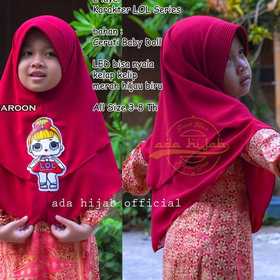 New ט Khimar Kids Lol Led Jilbab Anak 2 Layer Hijab Instan Bahan Ceruti Kerudung Pet Antem Cfd1 Shopee Indonesia