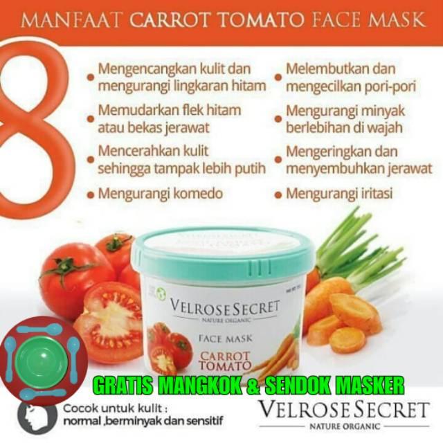 Lulur Wajah Carrot Tomato Velrose Secret Nature Organik Masker Wajah Jerawat Tomat Wortel Shopee Indonesia