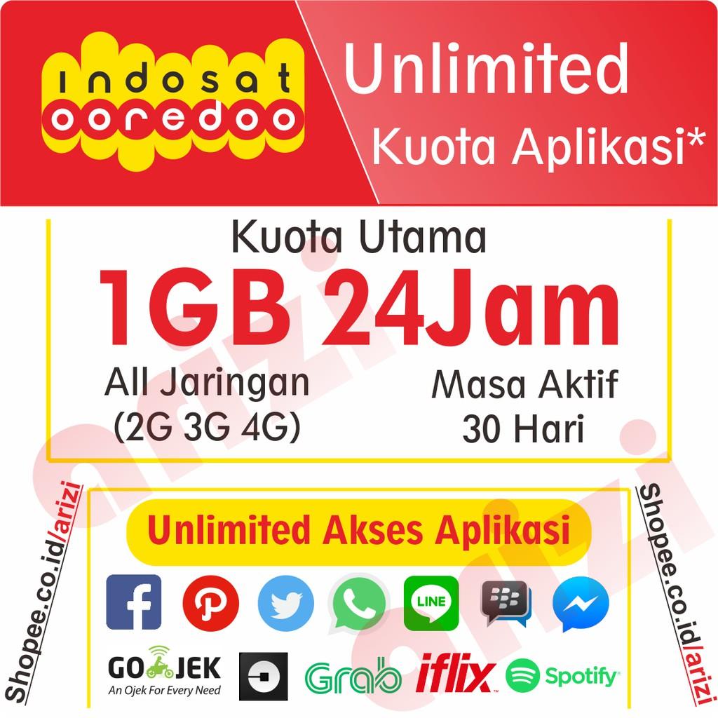 Kuota 1gb 24jam Unlimited Aplikasi 30 Hari Indosat Ooredoo Voucher 25k Paket Data Internet Shopee Indonesia