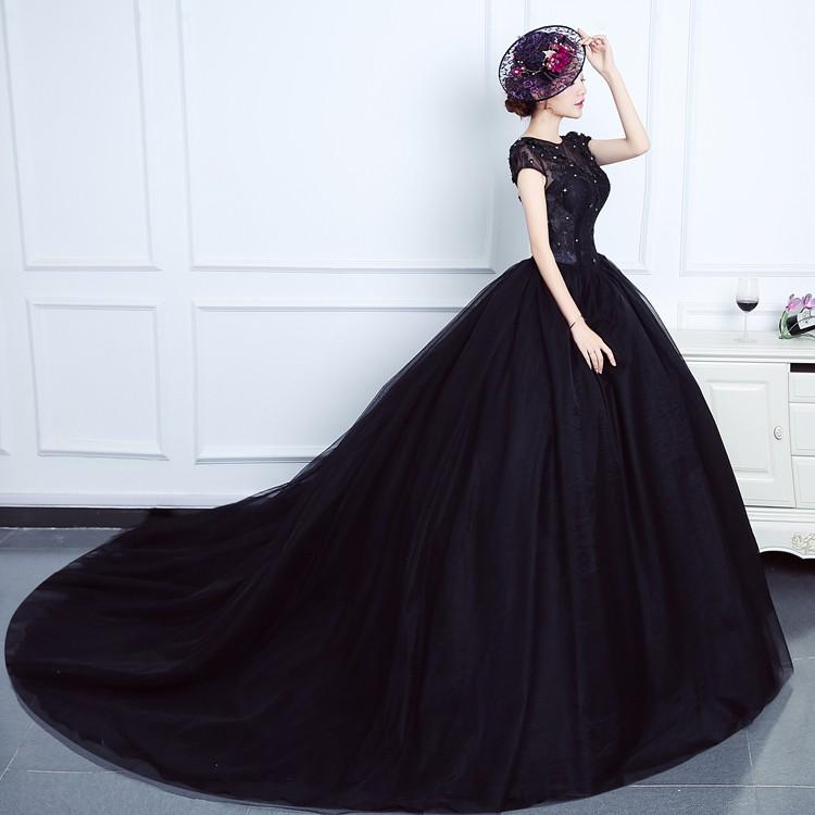 Gaun Pengantin 1805003 Hitam Ekor Wedding Gown Shopee Indonesia