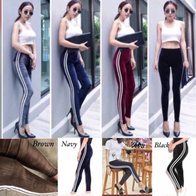 Restock Jc Legging Bludru List White Legging Bludru Wanita Kekinian Import 100 Ada 5 Warna Shopee Indonesia