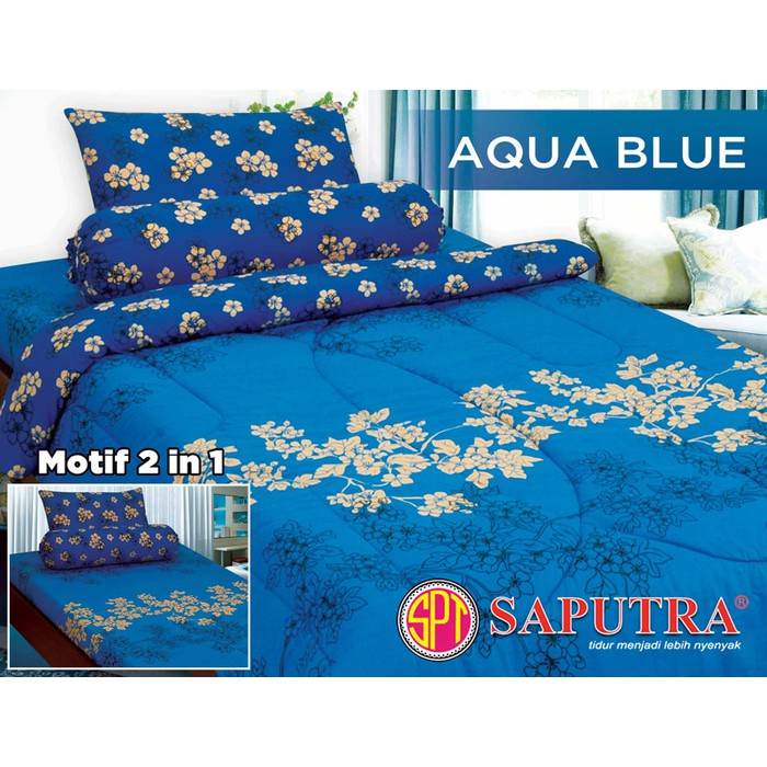 Bed Cover Set Single 120 x 200 Bed Cover Set Saputra Single 120 x 200 Aqua