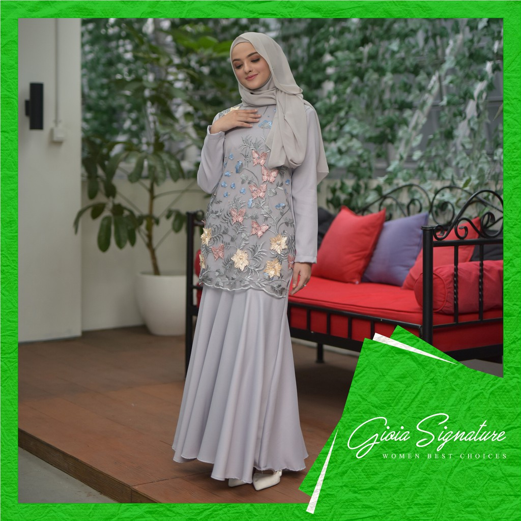 PO - Imani dress GREY (gaun pesta muslim duyung/mermaid aplikasi  brukat/brokat baju kondangan)