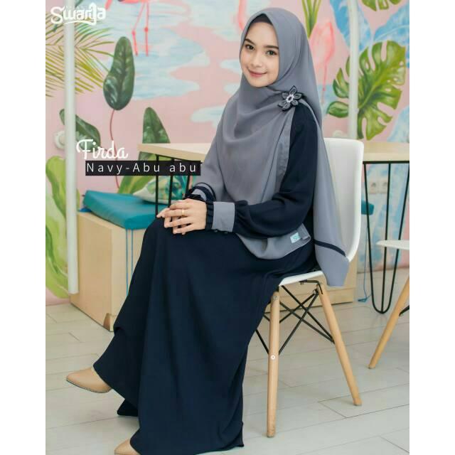 Gamis Firda Navy By Swarga Hijab Shopee Indonesia
