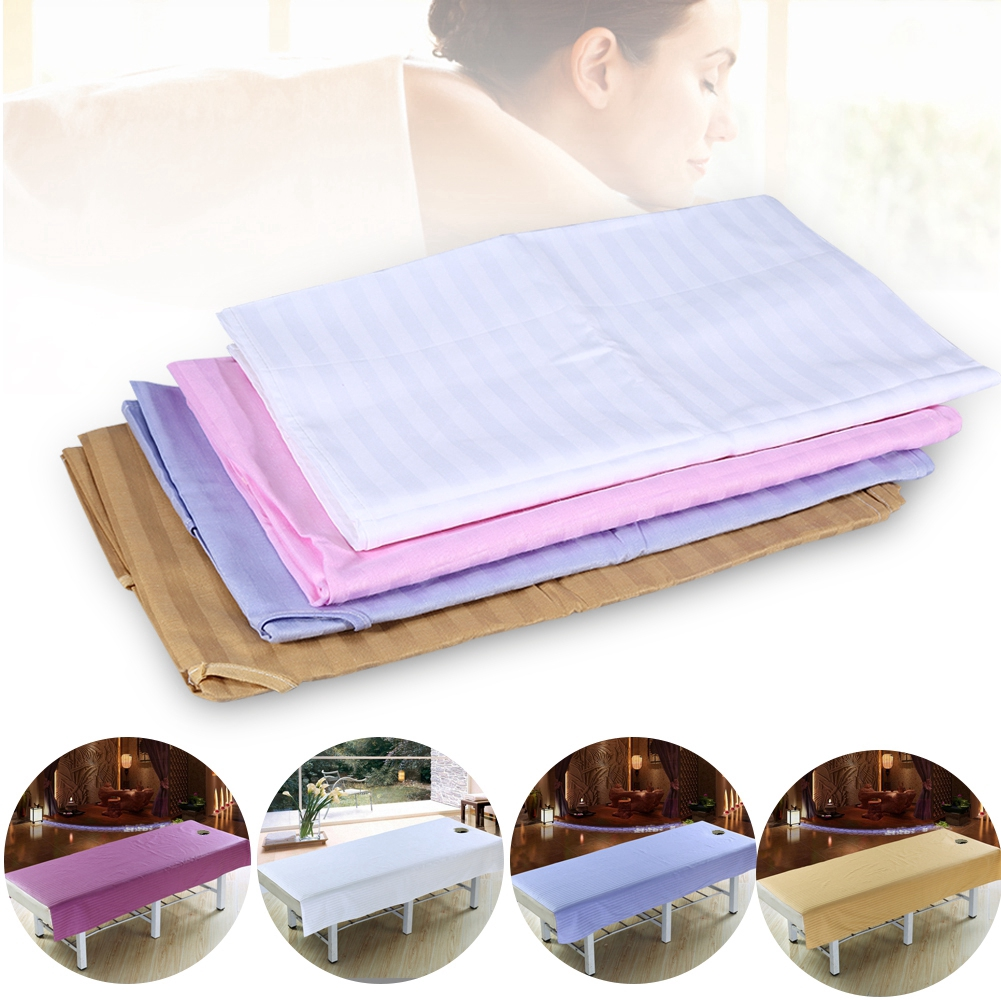 Soft Cotton Stripe Beauty Salon Sheet Spa Treatment Bed Cover With