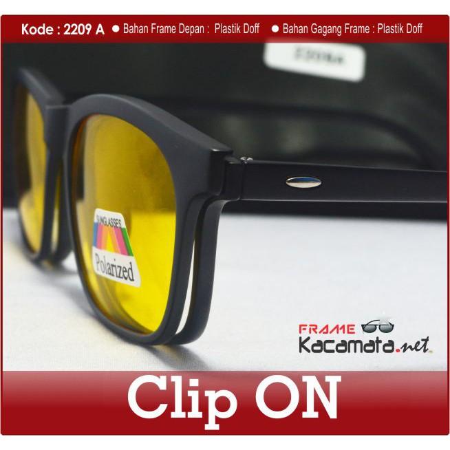 Frame Fashion Kacamata Smart Clip On 2209 + Lensa Minus Baca Kacamata Hitam  Sunglass Antiradiasi  113f7873eb