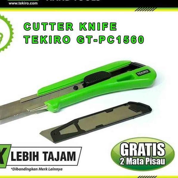 ∙` CUTTER / PISAU CUTTER BESAR 18 MM + 2 MATA PISAU TEKIRO GT-PC1560