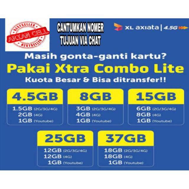 [INJECT] ISI ULANG KUOTA XL 4,5GB - 8GB - 15GB XTRA COMBO