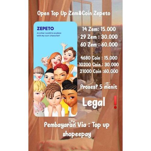 Top Up Zem&Coin Zepeto legal❗