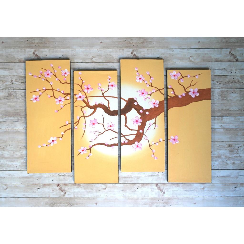 Lukisan Bunga Sakura Coklat