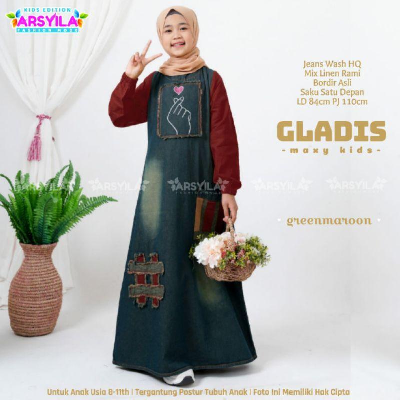 Gladis Dress Anak Marun Jeans Levis Gamis Kids Yellow Usia 8-11th Dress Kidz Pink by Arsyila
