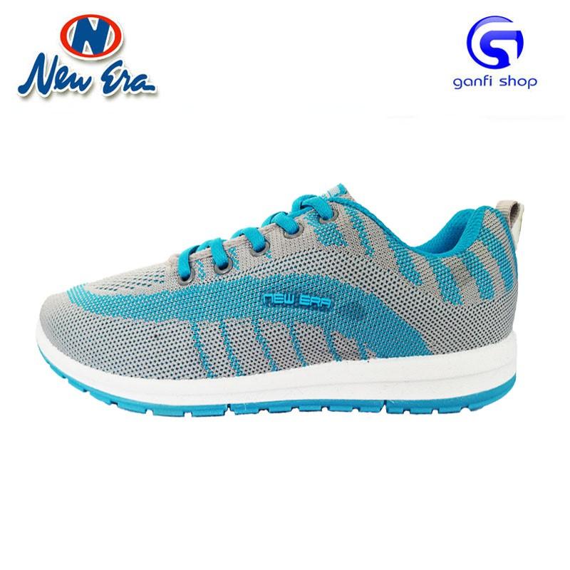 New Era Nona Sepatu Olahraga Sepatu Casual Warna Abu Biru Turkis f228f97644