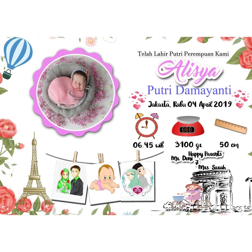 Edit Desain Foto Ucapan Kelahiran Bayi Atau Anak