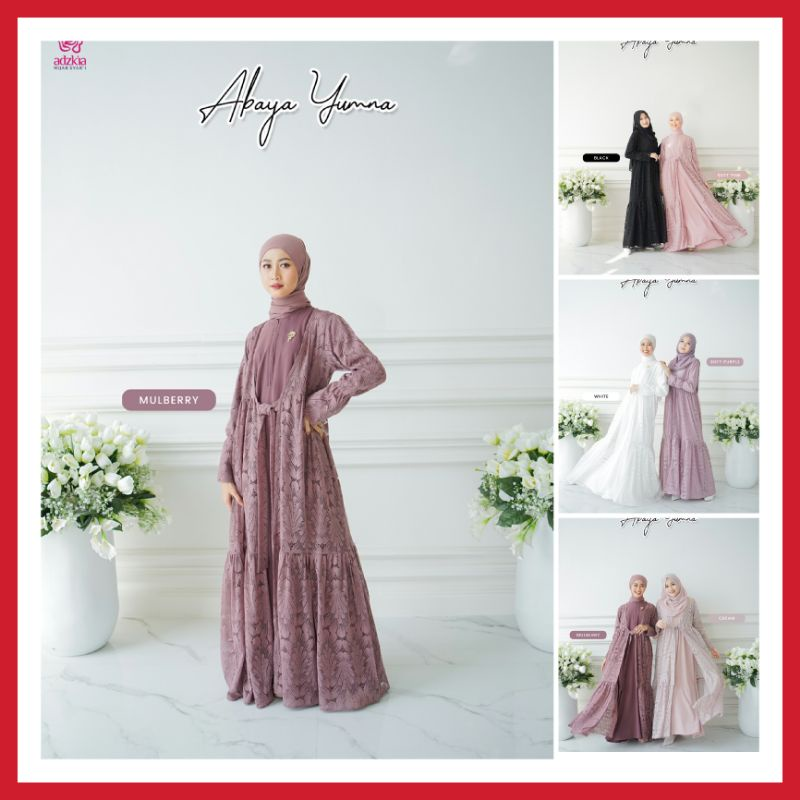 Abaya Yumna Set Outer Brokat Dan Pashmina Original By Adzkia Hijab Syari