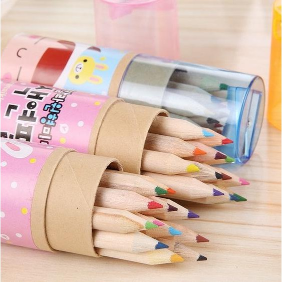 Baru Pencil Warna Mini 12 Biji Rautan Pensil Model Tabung Alat Tulis Gambar Diskon | Shopee