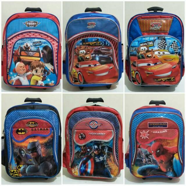 Tas Roda Troli Captain America 7D Timbul Biru 3 Kantong Anak Sekolah SD | Shopee Indonesia