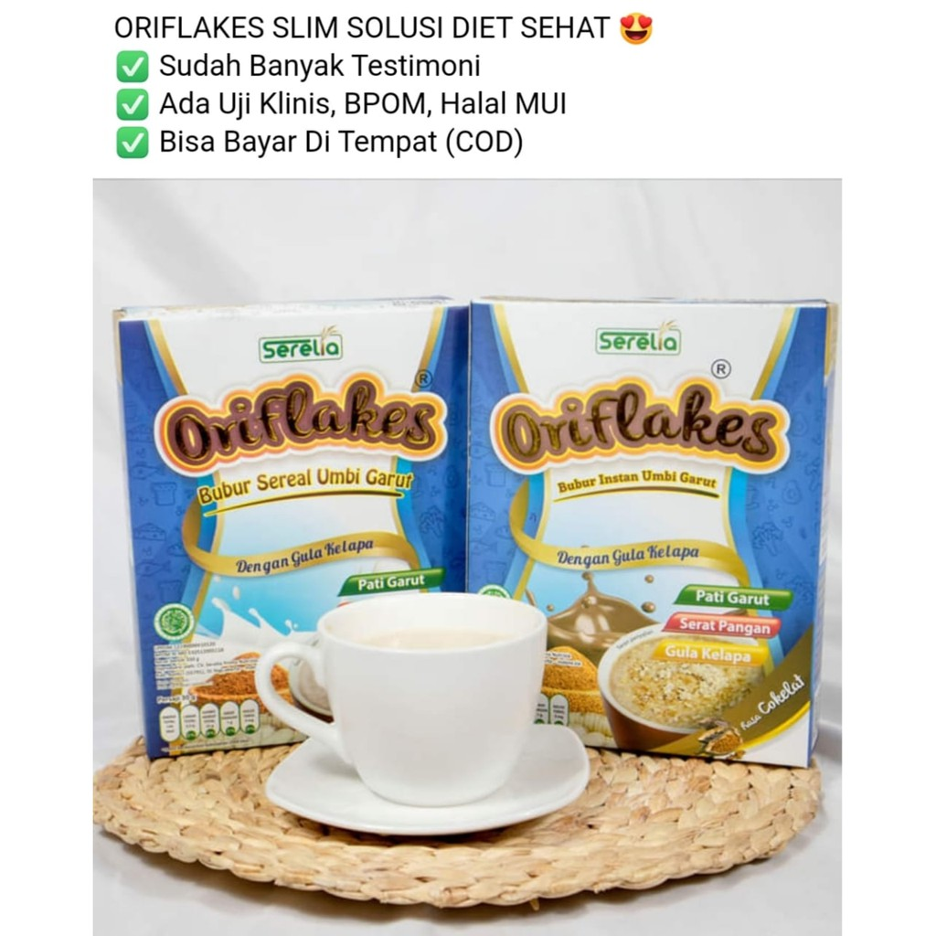 ORIFLAKES SLIM DIET | SEREAL UMBI GARUT | OBAT MAAG | ASAM LAMBUNG | GERD  |  GLUTEN FREE  350gr