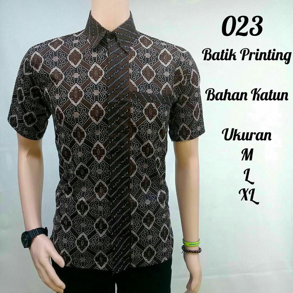 Kemeja Hem Batik Fashion motif Wajik Coklat Lengan Pendek  9439564e87