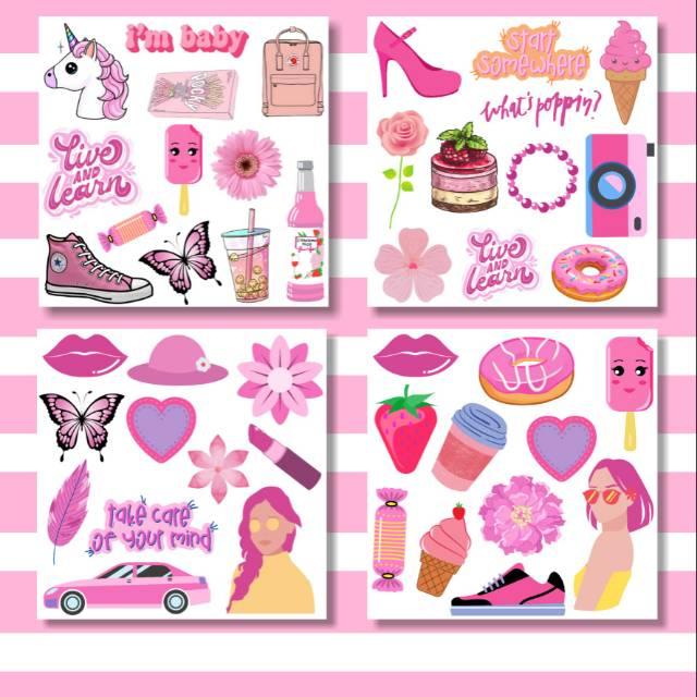Aesthetic Tumblr Stiker Versi Pink Shopee Indonesia