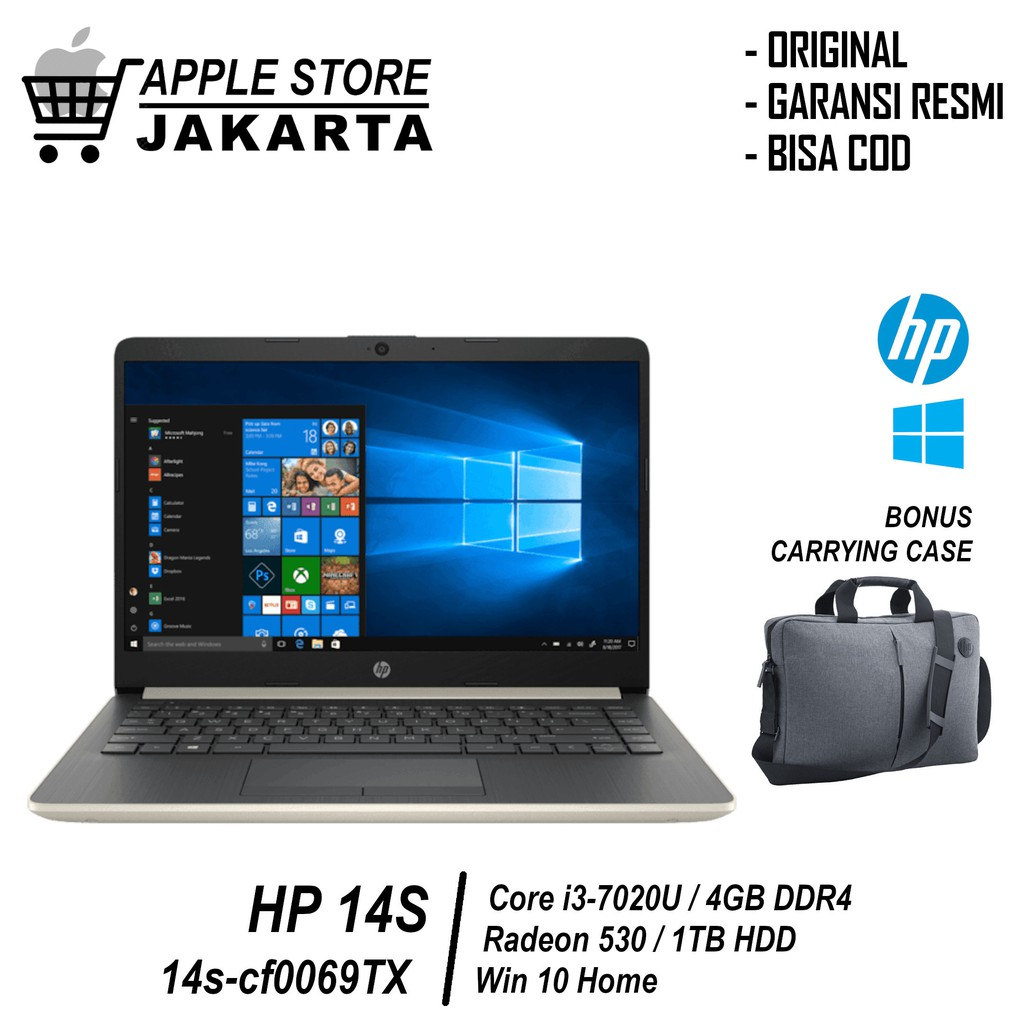 Laptop Hp 14s Cf0069tx 14 Inch Core I3 7020u 4gb 1tb Radeon 520 2gb Cf0070tx Win 10 Garansi Resmi Shopee Indonesia