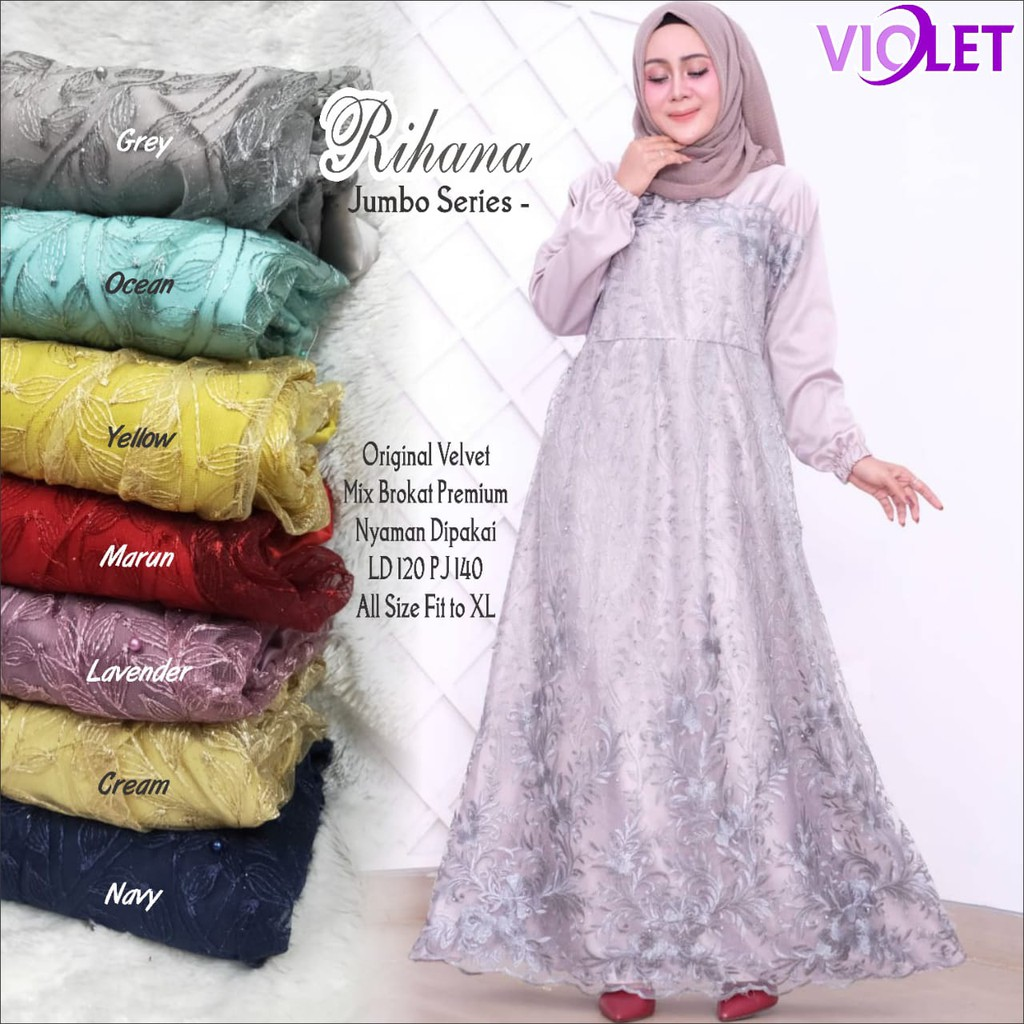 Rihana Jumbo Dress / Gamis brokat jumbo fit m to xxl / Dress kondangan  jumbo murah / Maxy brokat
