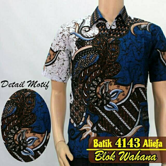Kemeja Hem Baju Batik Pria Modern Biru  7374fdeccb