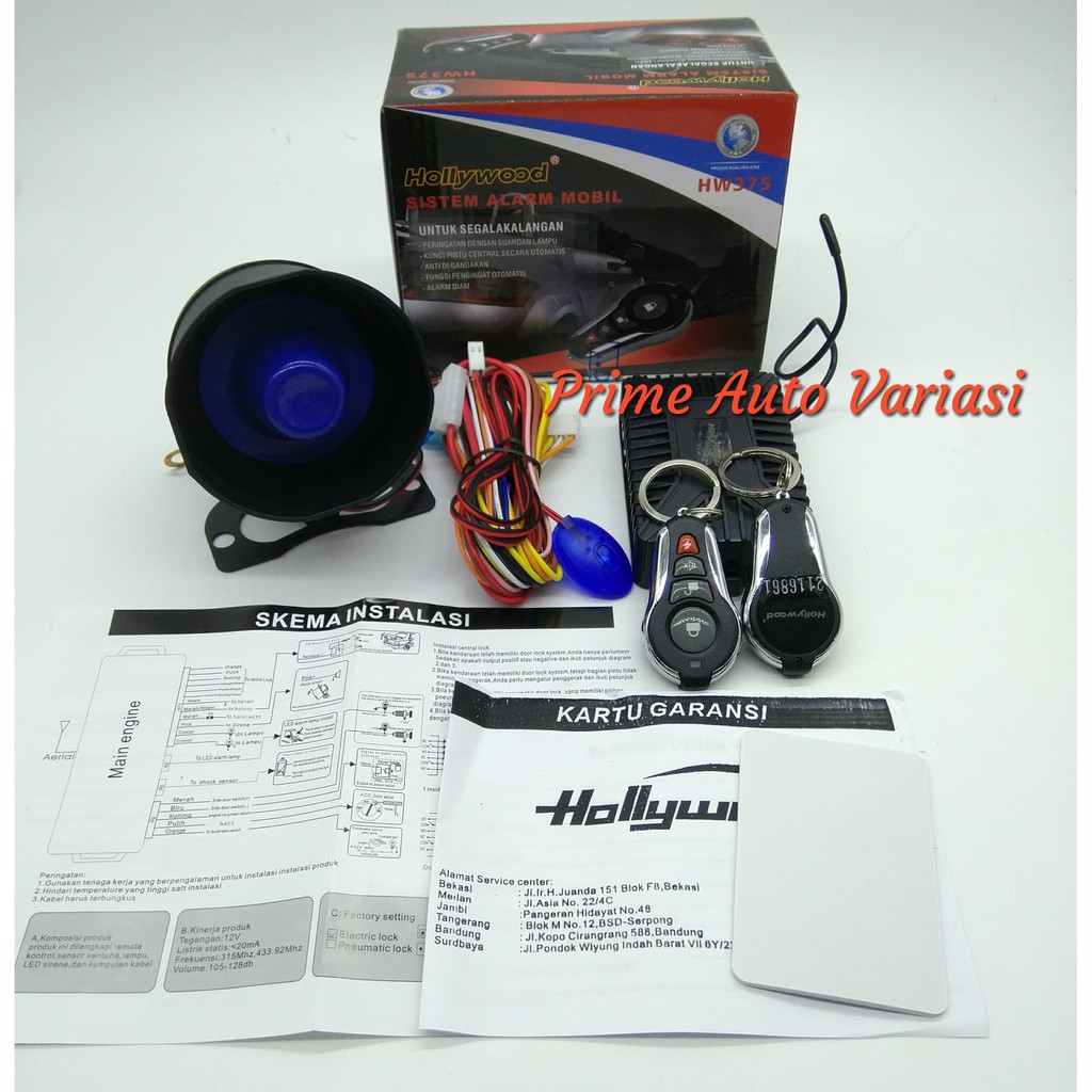 Alarm Mobil Hollywood Hw375 Model M1 Tuk Stealth Bunyi Plus Kunci Car System Universal Sound Silicon Premium Class Best Type Terbaik Shopee Indonesia