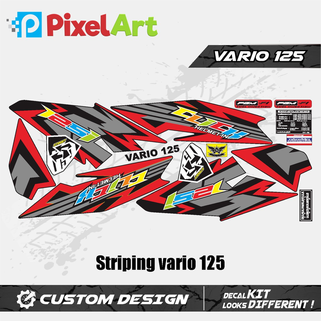 STICKER STRIPING MOTOR VARIO 125 RED PREMIUM QUALITY