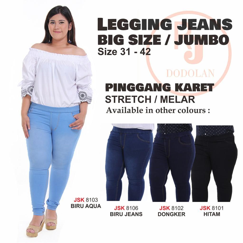 Celana Jeans Pendek Selutut Jumbo Big Size Gemuk Jeans 7/8 Hitam Biru Tua Biru Muda Wanita   Shopee Indonesia