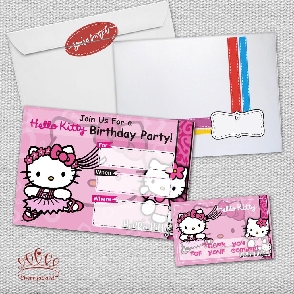 Undangan Ulang Tahun Isi 20 Pcs Blank Birthday Invitation Hello Kitty