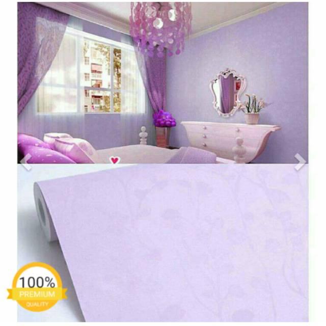 Big Sale Promo Berkah Juni Wallpaper Sticker Dinding Hiasan Kamar Cantik Warna Ungu Motif Bunga Shopee Indonesia