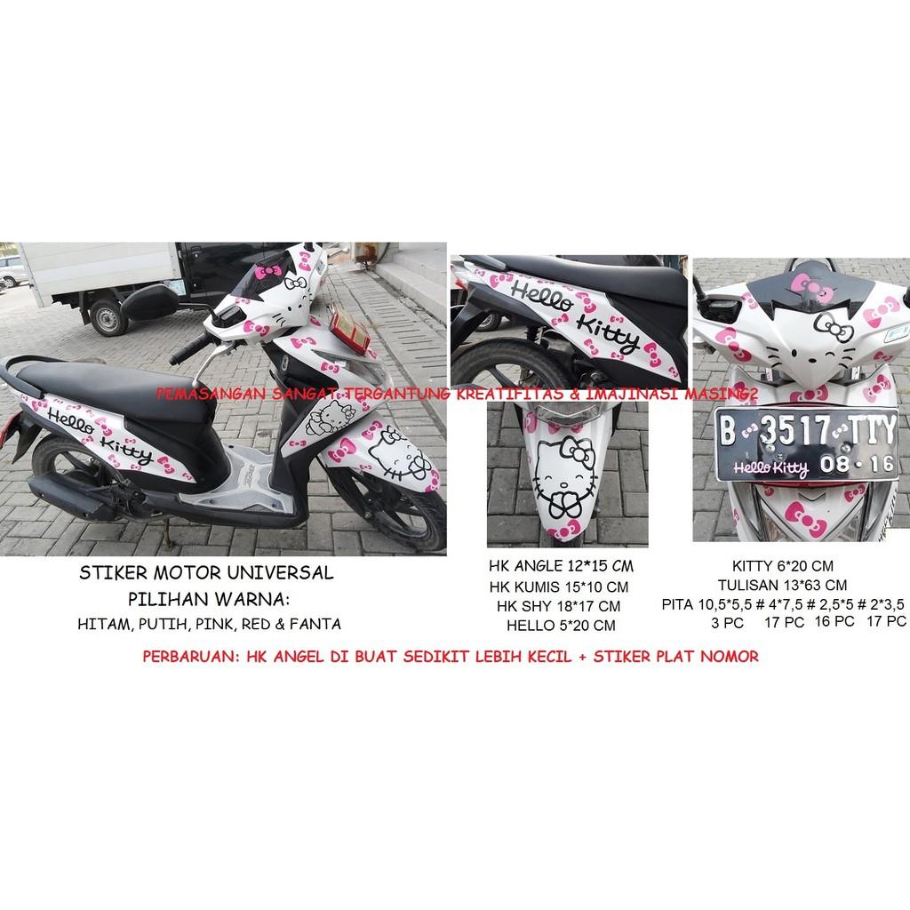 Stiker Motor Hello Kitty Universal Shopee Indonesia Nomor