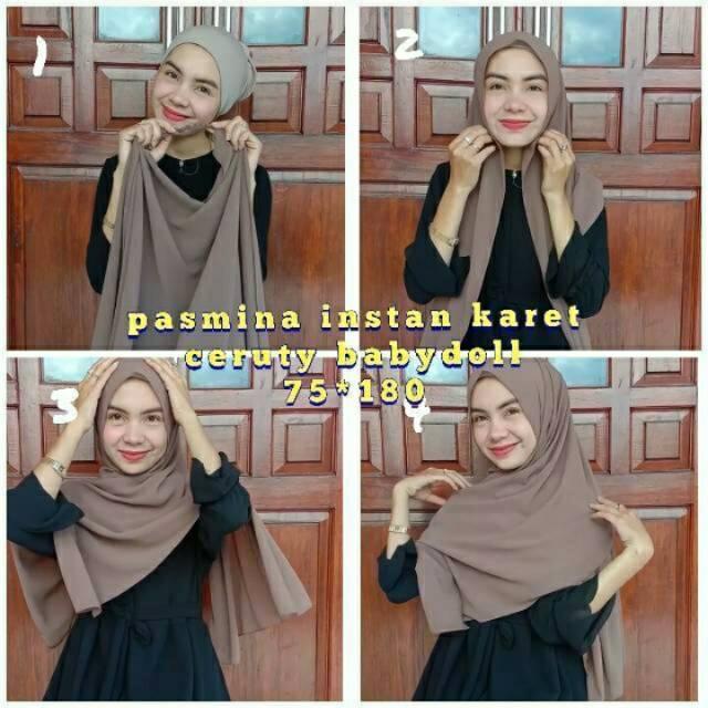 Jilbab Pashmina Instan Karet Ceruty Babydol Shopee Indonesia