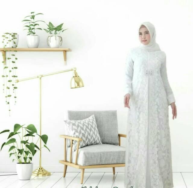 Baju Muslim Gamis Putih Mewah Dan Elegan Bahan Brokat Berkualitas