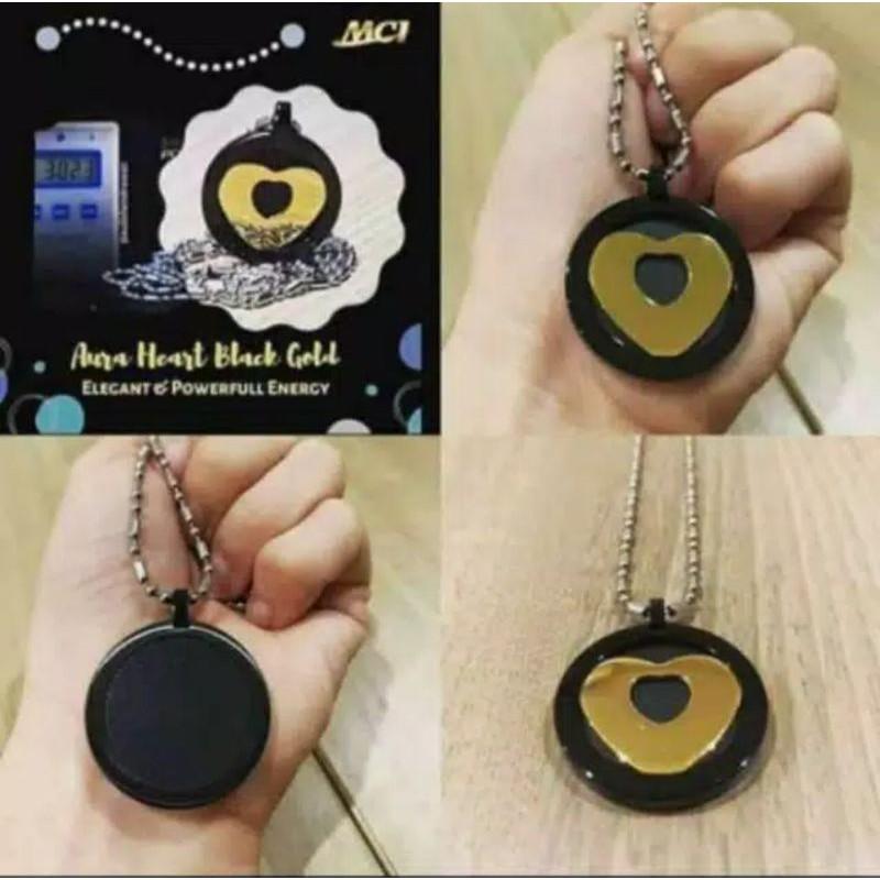Kalung AURA HEART BLACK GOLD | kalung kesehatan MCI | KALUNG ANTI RADIASI HP