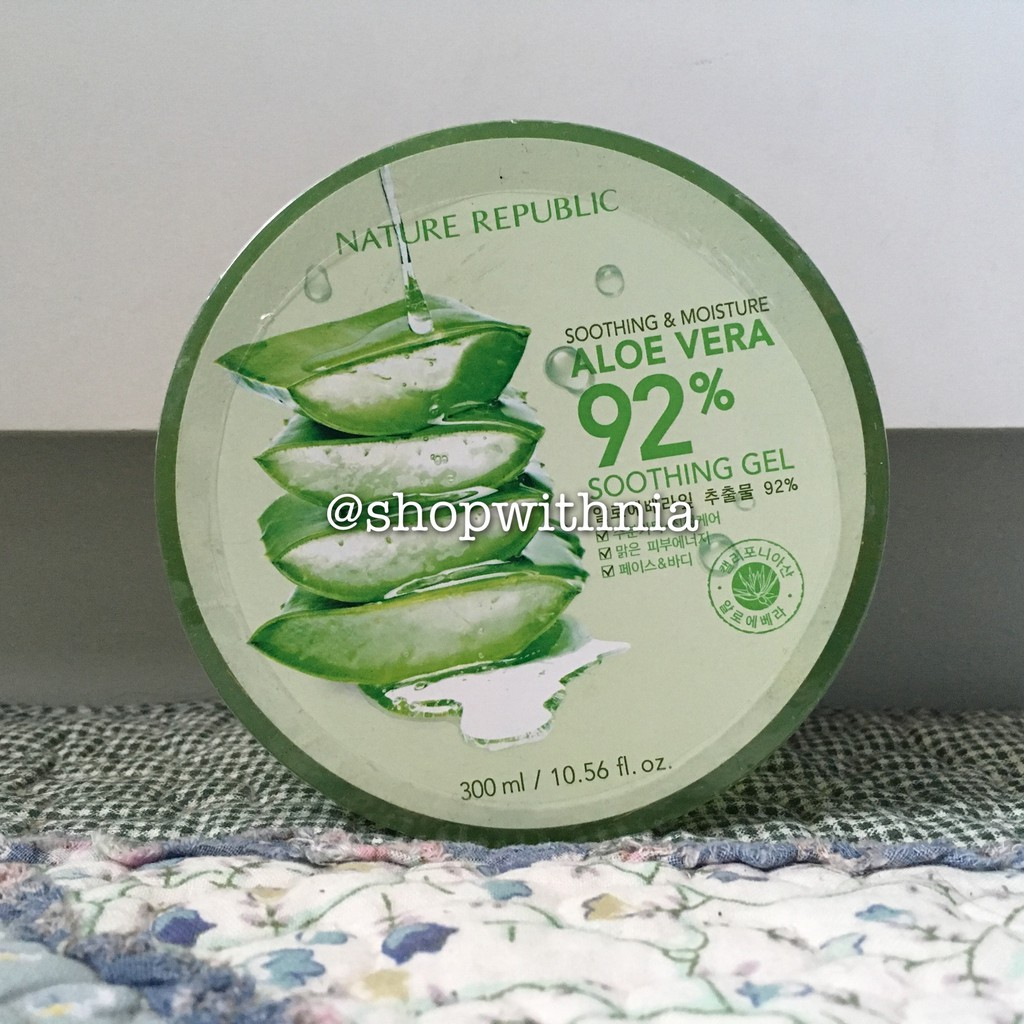 Nature Republic 92 Aloe Vera Soothing Gel 300ml Jar Tube Ori 300 Ml Korea Shopee Indonesia